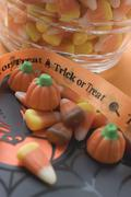Sweets for Halloween (candy corn, pumpkin sweets) Stock Photos