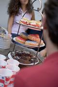 Cake buffet for the 4th of July (USA) - stock photo