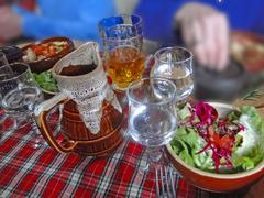 hearty skiers savoyard lunch .. - stock photo