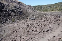 view of kilauea iki crater floor - stock photo