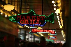 neon fish sign .. - stock photo