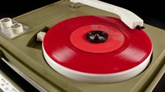 Portable vintage record player Stock Footage