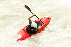 An Active Kayaker On The Rough Water Stock Photos