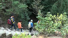 Japanese schoolkids on a hiking trail Stock Footage