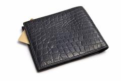 black wallet with credit card - stock photo