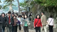 Stock Video Footage of Japanese tourists visit Miyajima island