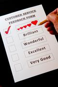 Customer Service Feedback Form with options for rating love - stock photo