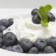 Greek Yogurt with Blueberries and Mint Stock Photos