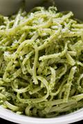 Linguine with cashew nuts and rocket pesto - stock photo