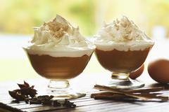 Suspiro (Custard Topped with Meringue, Peru) Stock Photos