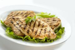 Grilled chicken breast slices - stock photo