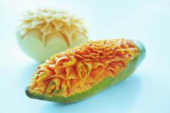 Carved melon and papaya, Thailand - stock photo