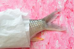 Tail fin of a dace in paper, Thailand - stock photo