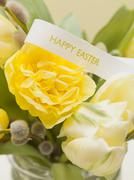 Easter flowers with pussy willow - stock photo