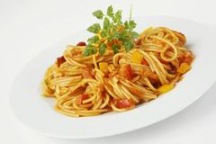Spaghetti with peppers - stock photo