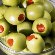 Stuffed green olives (close-up) Stock Photos