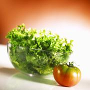 Curly lettuce and tomato - stock photo