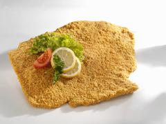 Breaded pork escalope - stock photo