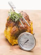 Stuffed breast of veal with meat thermometer - stock photo