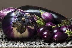 Variety of Types of Eggplants Stock Photos