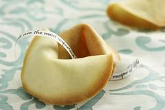 Fortune cookies with messages - stock photo
