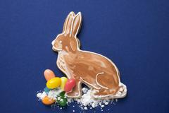 Easter Bunny, jelly beans and sugar Stock Photos