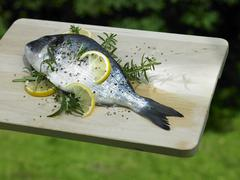 Bream with lemon slices and rosemary for grilling Stock Photos