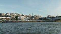 Belgrade, river, wide shot Stock Footage