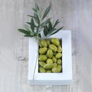 Green olives in a bowl with an olive sprig - stock photo
