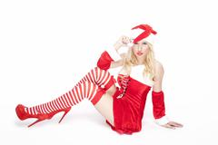 Attractive blonde christmas girl Stock Photos