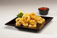 Plate of Fried Calamari - stock photo