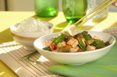 Stir-fried tofu and vegetables with rice Stock Photos