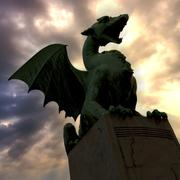 Green dragon in capital city ljubljana - stock photo
