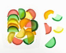 Jelly Fruit Slice Candies on White Stock Photos