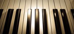 Top view close up shot of piano keyboard Stock Photos