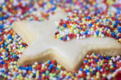 Iced biscuit with hundreds and thousands - stock photo