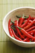 Stock Photo of Red chillies in bowl