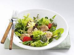 Salad leaves with veal sweetbread Stock Photos