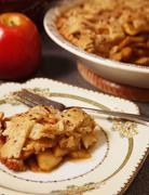 Piece of Homemade Apple Pie on a Plate Stock Photos
