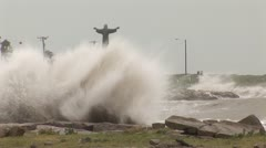 Hurricane Storm Surge Christ Statue  - stock footage