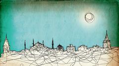Istanbul illustration aged vintage paper Stock Illustration
