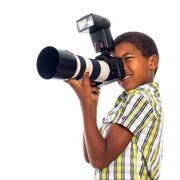 Lapsi valokuvaaja ammatti kameran Kuvituskuvat
