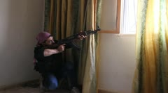 Free Syrian Army Shooter Stock Footage