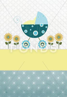 Stock Illustration of Baby carriage blue yellow