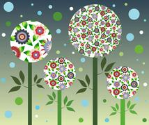 Blue bubble flowers - stock illustration