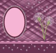 Dandelions blown away plum - stock illustration