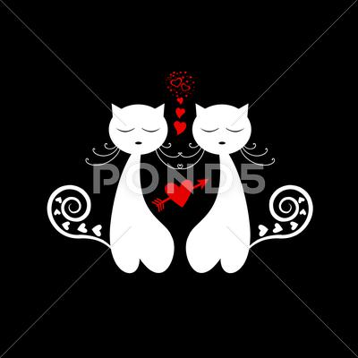 Stock Illustration of love cat silhouette