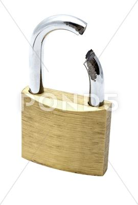 Stock photo of broken padlock