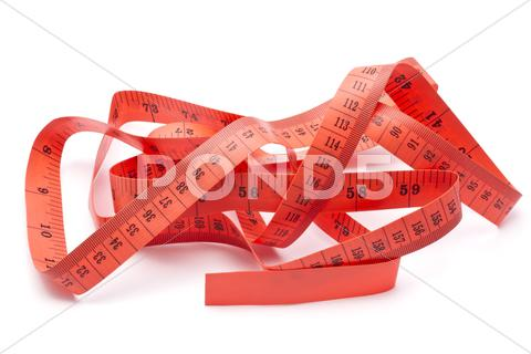 Stock photo of red tape measure