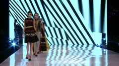 Beautiful models  Fashion show-Finale - stock footage